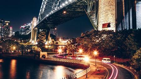 城市,灯光,夜晚,交通,桥梁,长时间曝光高端桌面精选 3840x2160