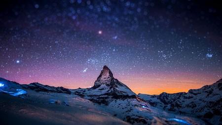 雪,山,晚上,天空,星星,4K,高清,桌面高端桌面精选 3840x2160