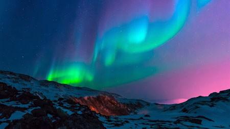 迷人,山脉,夜空,多彩,北极光高端桌面精选 3840x2160