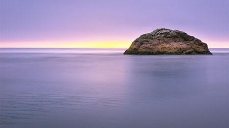 迷人,岩石,海洋,地平线,黎明,反射高端桌面精选 3840x2160
