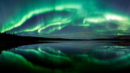 阿拉斯加,湖,夜,绿色,北极光高端桌面精选 3840x2160