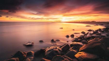 海岸,石头,日落,地平线,2022,自然风光,照片高端桌面精选 3840x2160