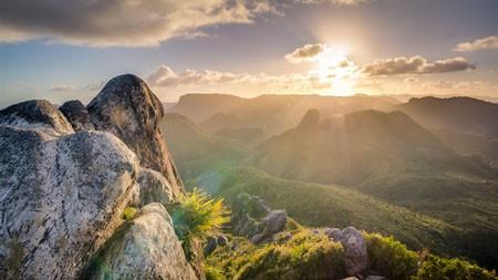 森林,高山,岩石,日出,自然,景观高端桌面精选 3840x2160