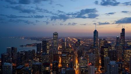 城市,晚上,摩天大楼,地平线,全景高端桌面精选 3840x2160