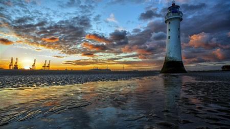 港口,海岸,海滩,灯塔,日落,风景高端桌面精选 3840x2160