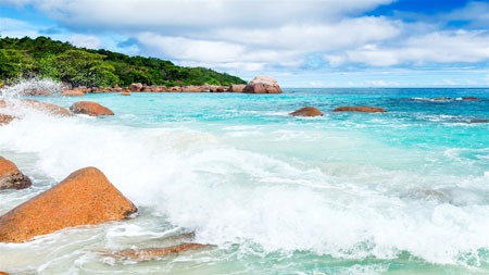 热带,岛屿,沙滩,海浪,沙滩,奇石高端桌面精选 3840x2160