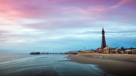 沙滩,海岸,地平线,灯塔,日落高端桌面精选 3840x2160