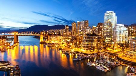 温哥华,港口,船只,摩天大楼,夜高端桌面精选 3840x2160