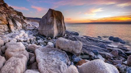 海滩,巨石,海盐,云彩,日落高端桌面精选 3840x2160