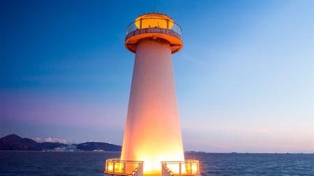 美丽,海洋,海滩,港口,灯塔,照明高端桌面精选 3840x2160