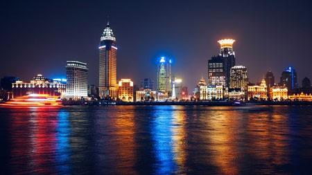 中国上海,黄浦江,夜景,摩天大楼高端桌面精选 3840x2160