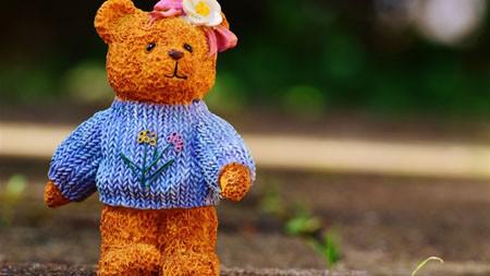 花,可爱,泰迪熊,玩具,特写高端桌面精选 3840x2160