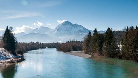 夏天,河,雪山,森林,蓝天高端桌面精选 3840x2160