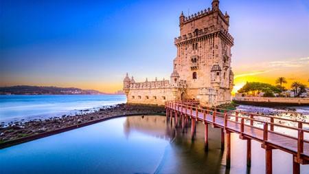 里斯本,贝伦塔,堡垒,日落,天空,景观高端桌面精选 3840x2160