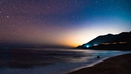 海,岸,晚上,繁星,山,高清,风景,摄影高端桌面精选 3840x2160