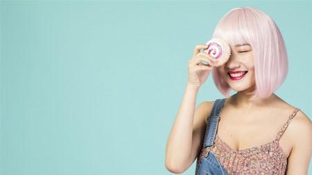 粉红色的发型,性感,迷人的模特,蛋糕,照片极品壁纸精选 3840x2160