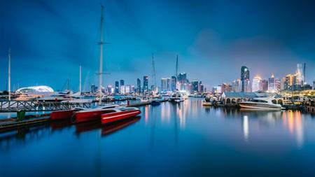 中国,帆船之都,青岛,港湾,夜景高端桌面精选 3840x2160