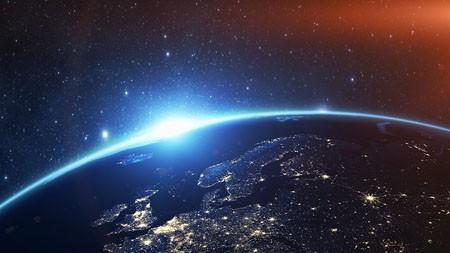 空间,蓝色,地球,欧洲,夜景,照明高端桌面精选 3840x2160