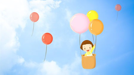 卡通,可爱,女孩,蓝色的天空,多彩,气球高端桌面精选 3840x2160