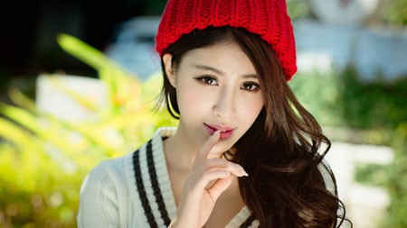 亚洲人,红色的帽子,时尚,毛衣,美女极品壁纸精选 3840x2160