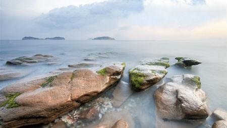 海滩,珊瑚,岩石,苔藓,海洋,地平线高端桌面精选 3840x2160