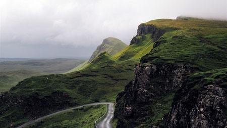 海岸,绿色高山,路,早晨,雾,照片高端桌面精选 3840x2160
