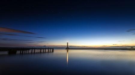 海洋,海岸,浮桥,灯塔,晚上高端桌面精选 3840x2160