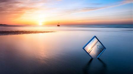 沙滩,海洋,日落,地平线,创意,拍摄百变桌面精选 3840x2160