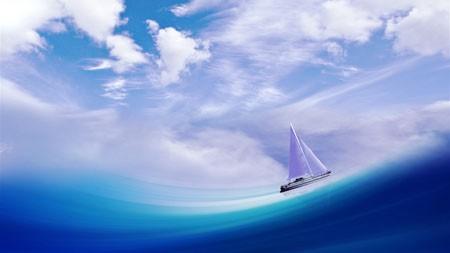 帆船,蓝色海洋,白云百变桌面精选 3840x2160