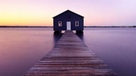 船屋,河,日出,早晨,海景高端桌面精选 3840x2160
