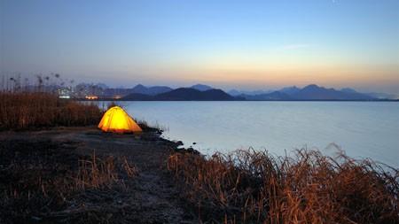 户外帐篷,露营,湖,黄昏高端桌面精选 3840x2160