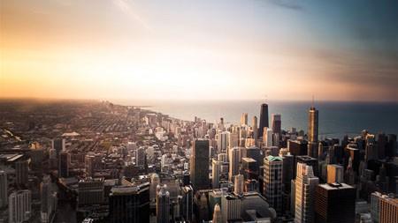 城市,摩天大楼,天际线,黄昏时间高端桌面精选 3840x2160