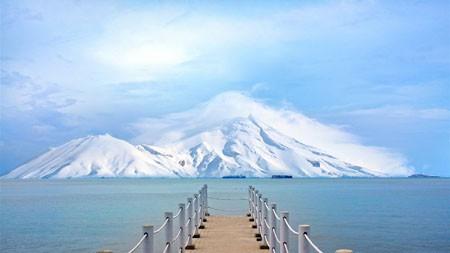 海洋,海岸,白色,雪山,浮桥百变桌面精选 3840x2160