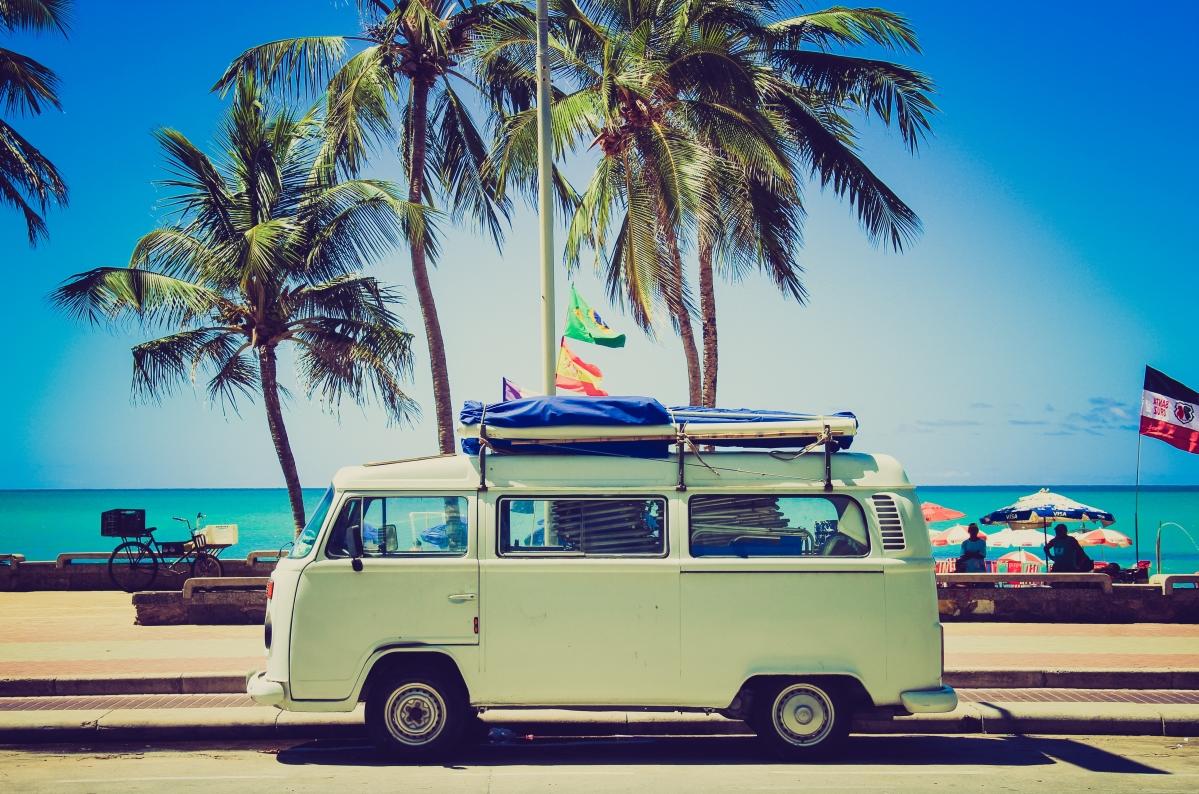 海边风景 大众汽车露营车 5K图片