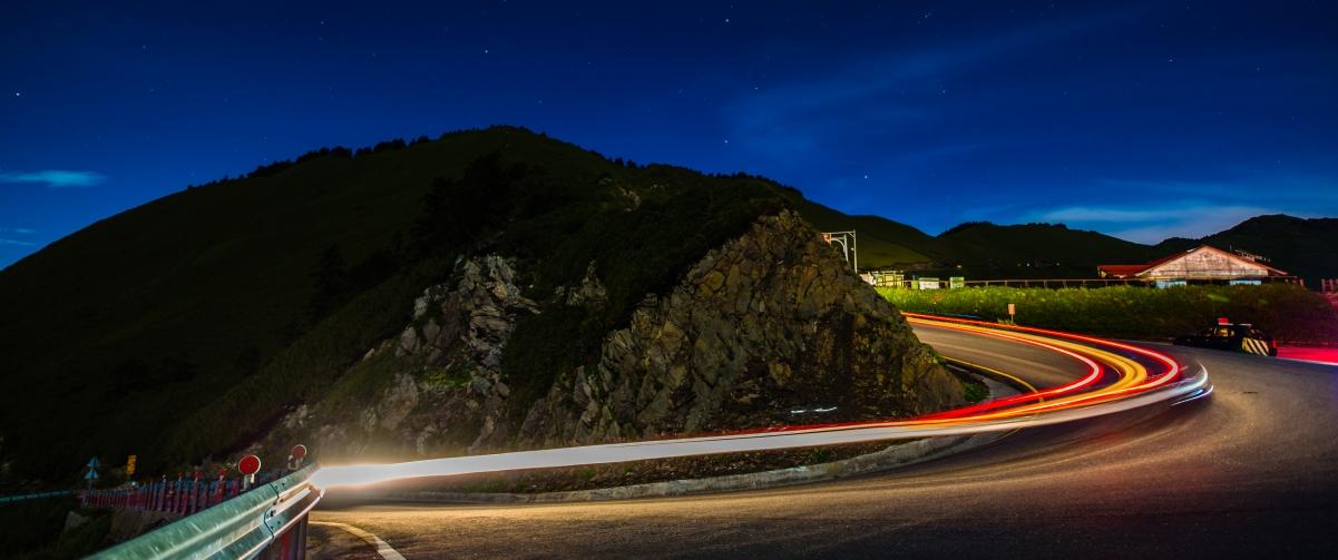 夜晚公路风景3440x1440高端电脑桌面壁纸