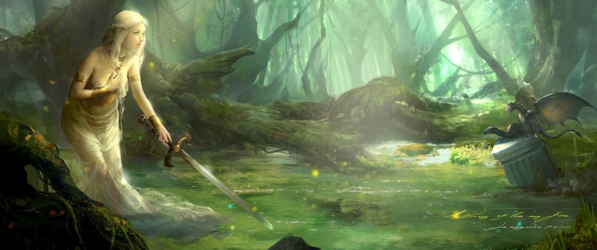 森林河流女孩剑唯美意境3440x1440高端电脑桌面壁纸