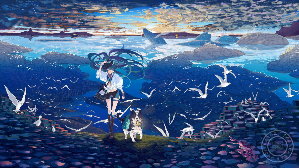 初音未来,小狗,鸟儿,海鸥,大海,天空,云,初音4k高清壁纸极品游戏桌面精选
