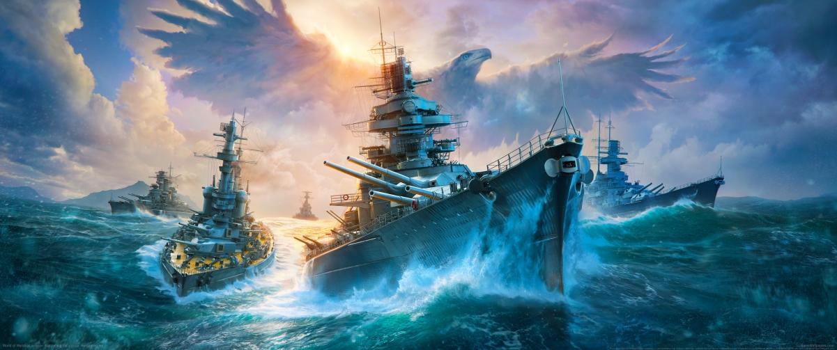 《战舰世界(World of Warships)》3440x1440游戏高端电脑桌面壁纸