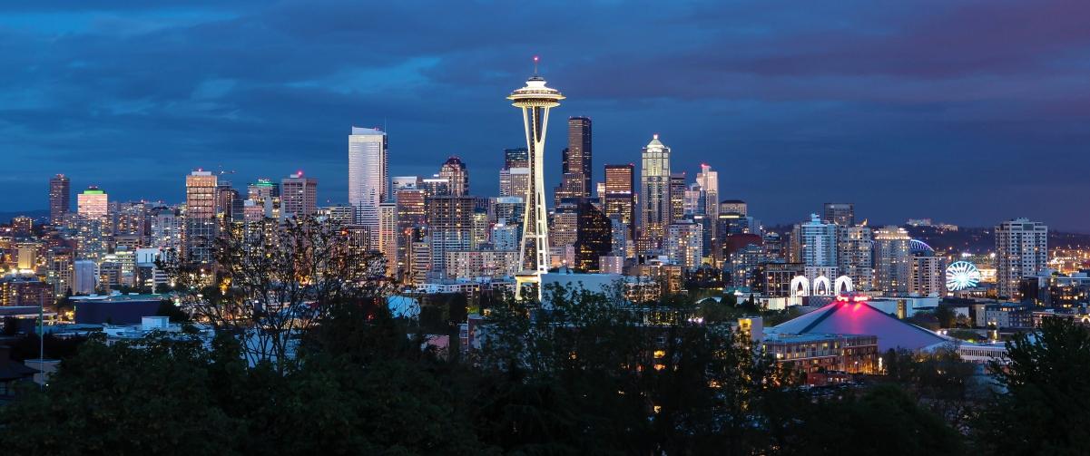 西雅图市中心黄昏风景3440x1440高端电脑桌面壁纸