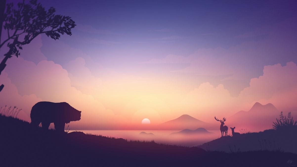 日出,山,熊,鹿,4K风景高端电脑桌面壁纸