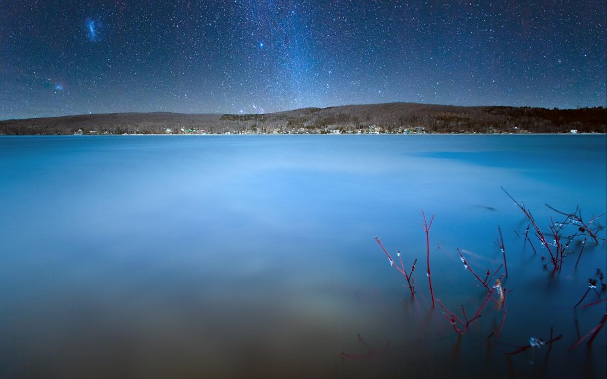 自然风景 蓝色夜空 星空风景4K高端电脑桌面壁纸
