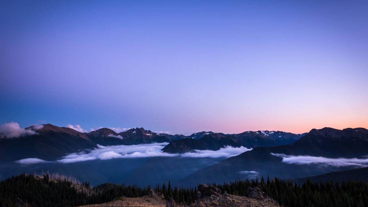 奥林匹克国家公园 蓝山的日落3840x2160风景高端电脑桌面壁纸
