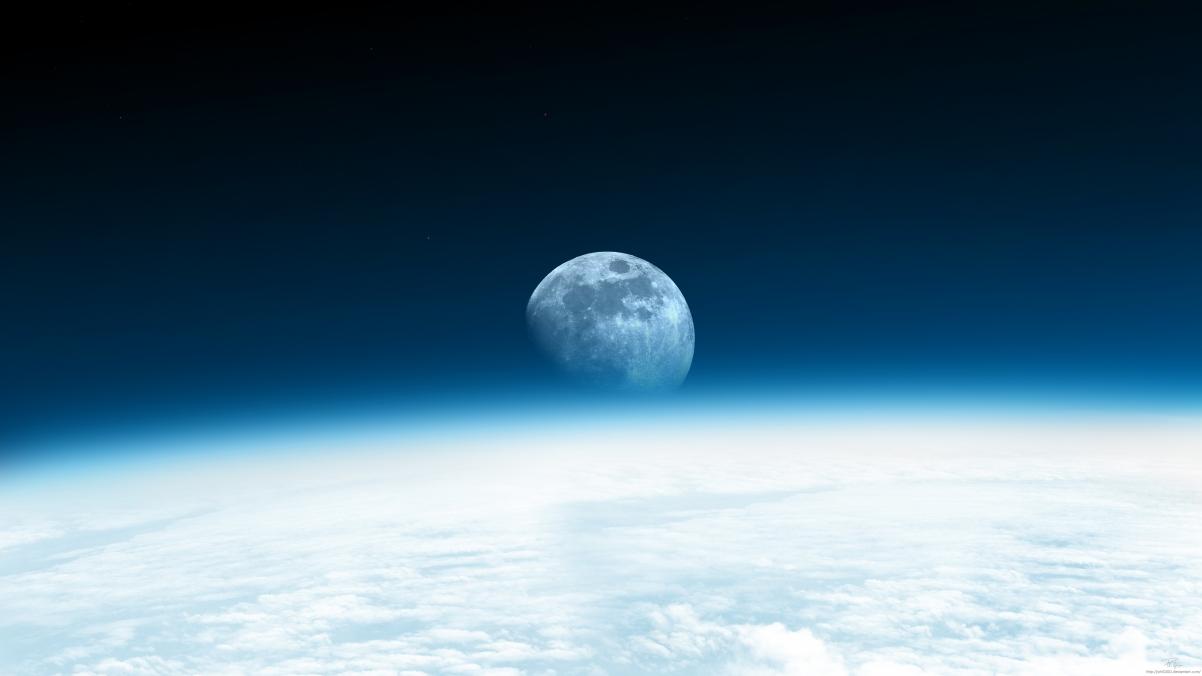 【3840x2160】月亮升起,太空,星空,地球,4K高清高端电脑桌面壁纸