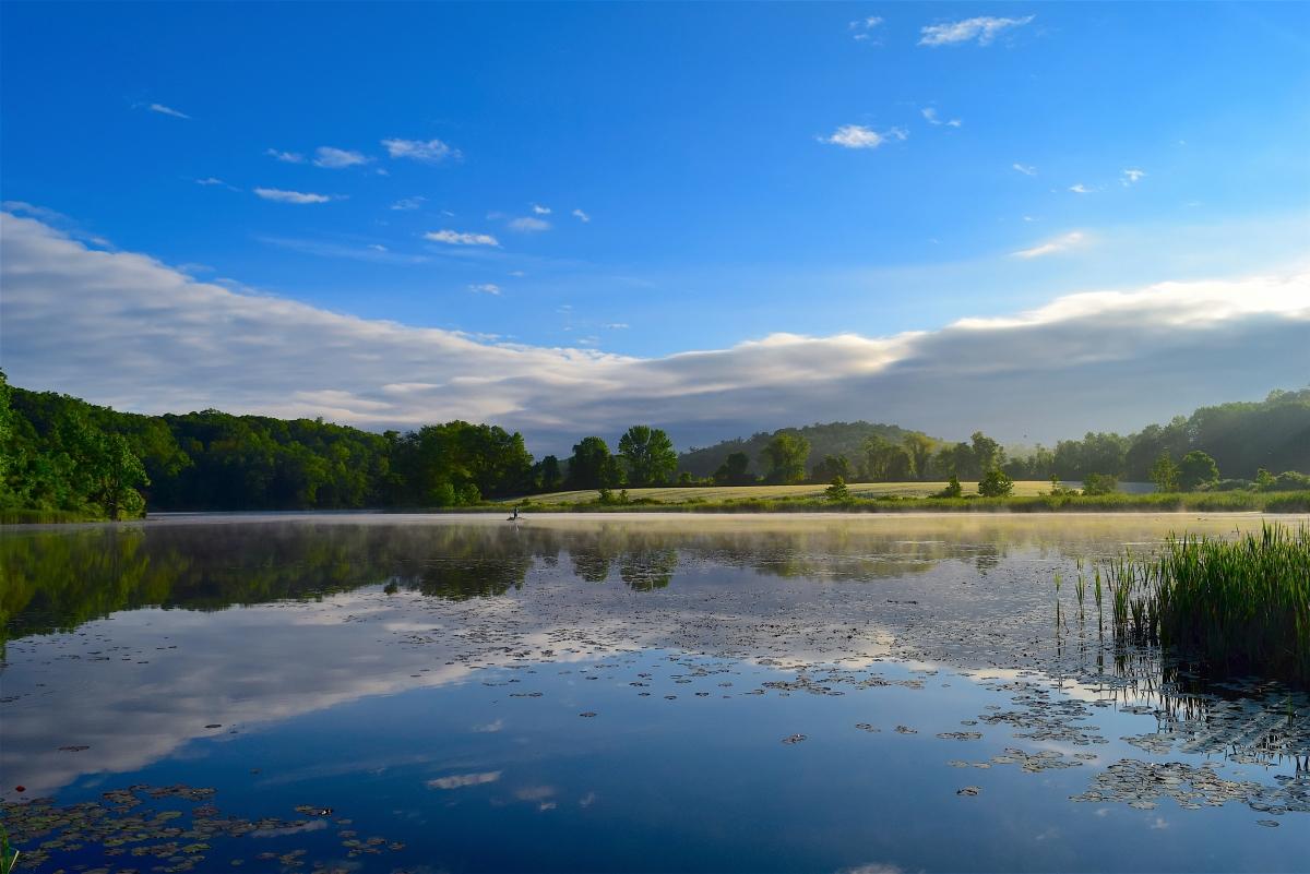 湖 树林 天空 云 日出 自然风景4K高端电脑桌面壁纸