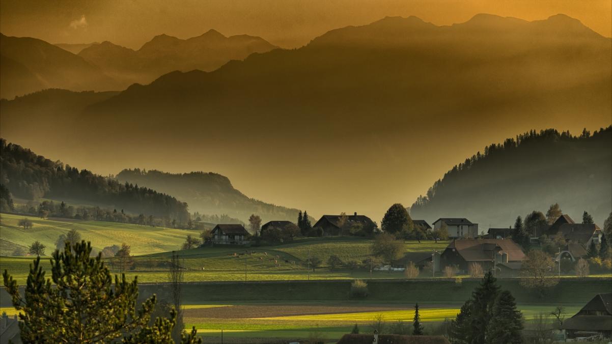 秋季 黄昏 山 下午 村庄风景7K图片高端电脑桌面壁纸