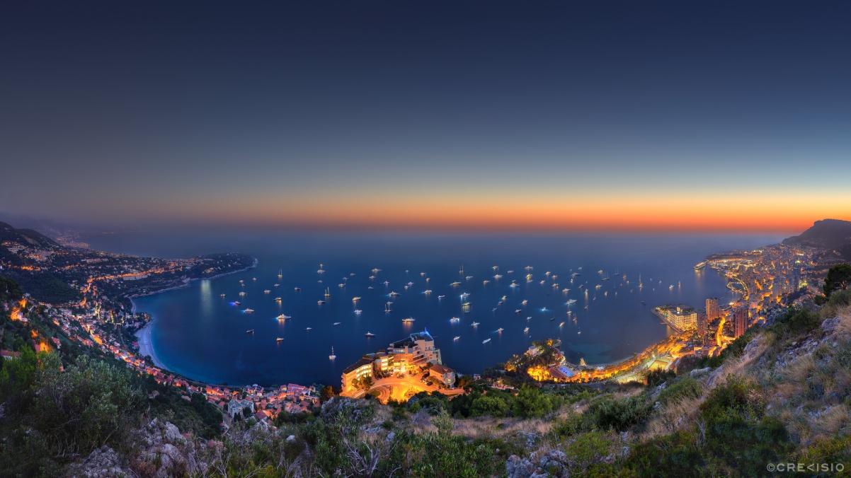 摩纳哥 俯瞰蔚蓝海岸全景4K风景高端电脑桌面壁纸