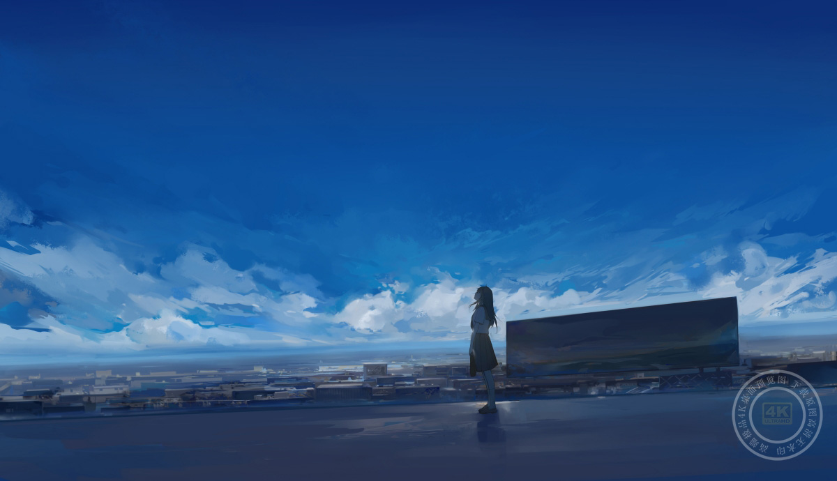 天空 云 制服水手服高中生女子6k动漫高端电脑桌面壁纸