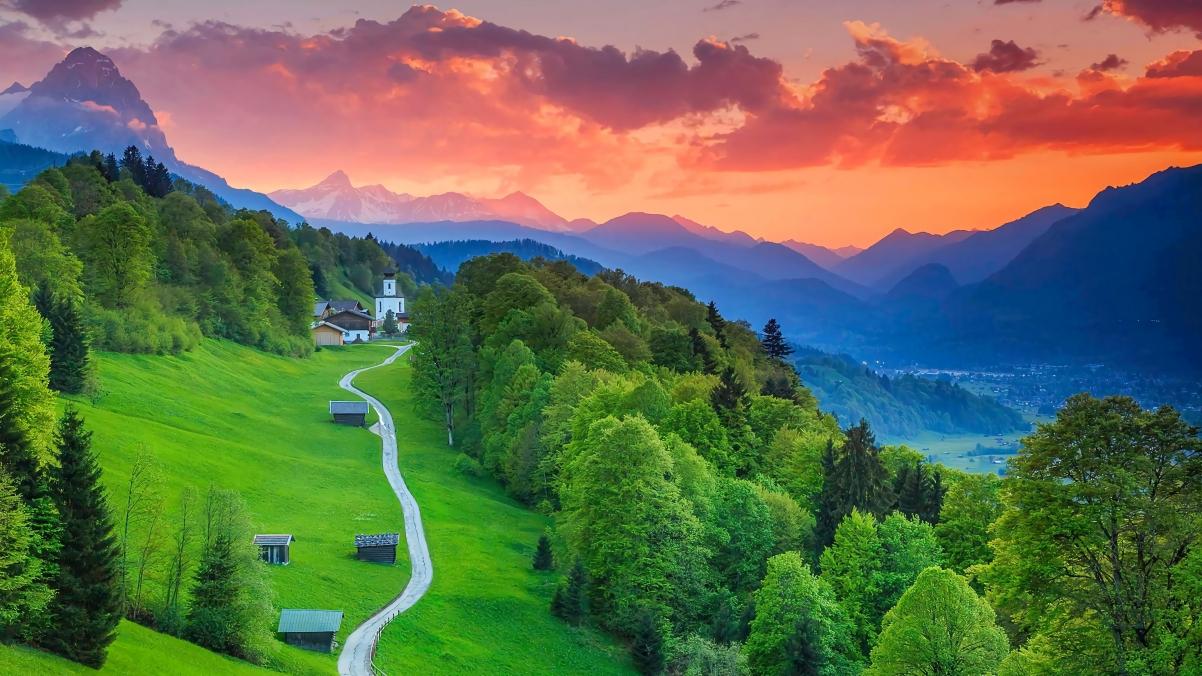 德国巴伐利亚 加尔米施帕滕基兴4k风景超高清壁纸精选3840x2160