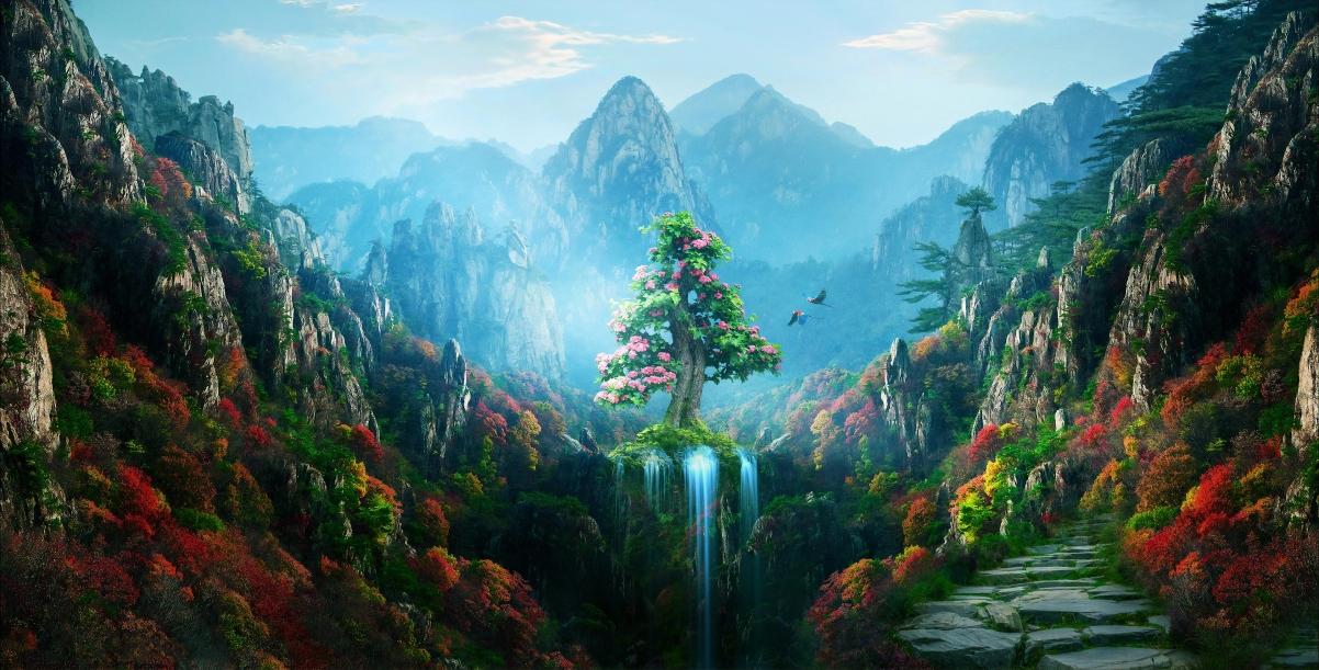 仙境 山脉 树 花 山谷 瀑布风景超高清壁纸精选
