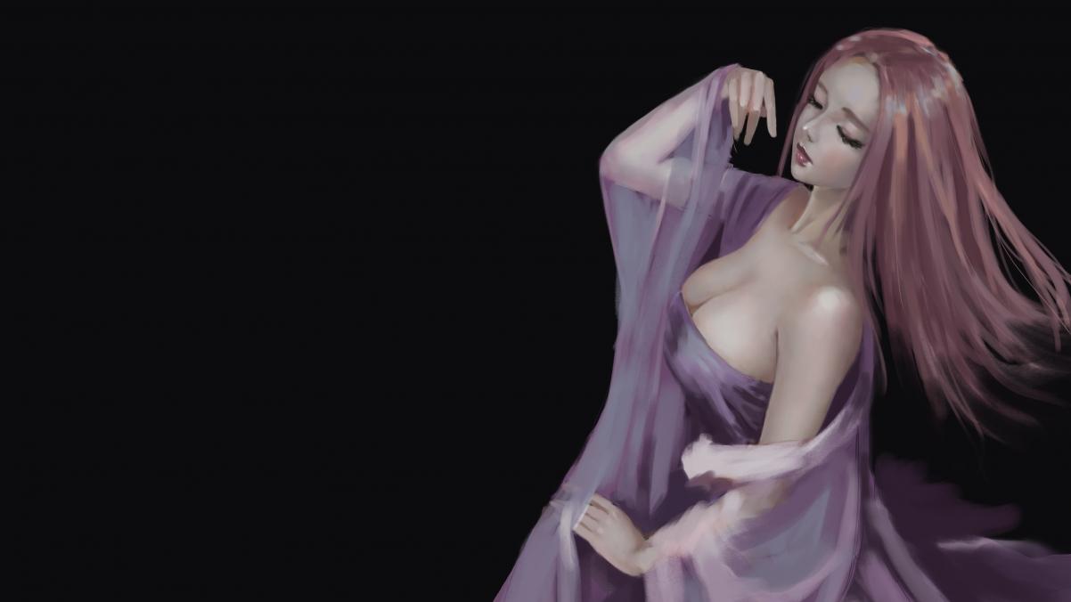 古风女子 简单黑色背景 4k动漫高清壁纸极品游戏桌面精选3840x2160